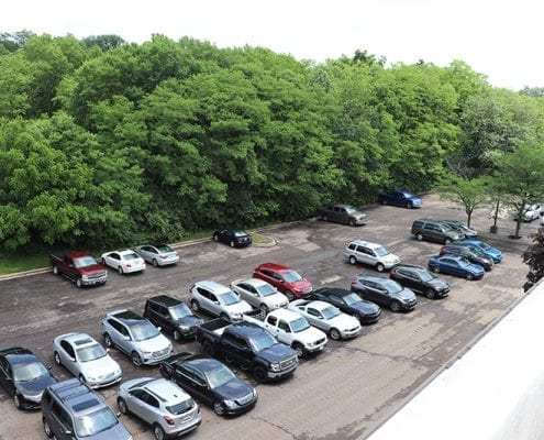 Overhead shot of a parking lot before being finished by Libs Paving Co