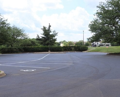 Parking lot paved, striped, and marked by Libs Paving