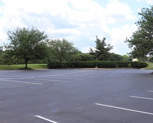 Parking lot neatly paved and striped by Libs Paving Co
